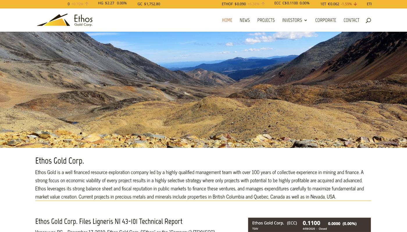 Ethos Gold Corp Website